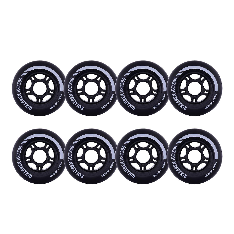 Rollerex VXT500 Inline Skate/Rollerblade Wheels (8-Pack) (Steel Black, 80mm)