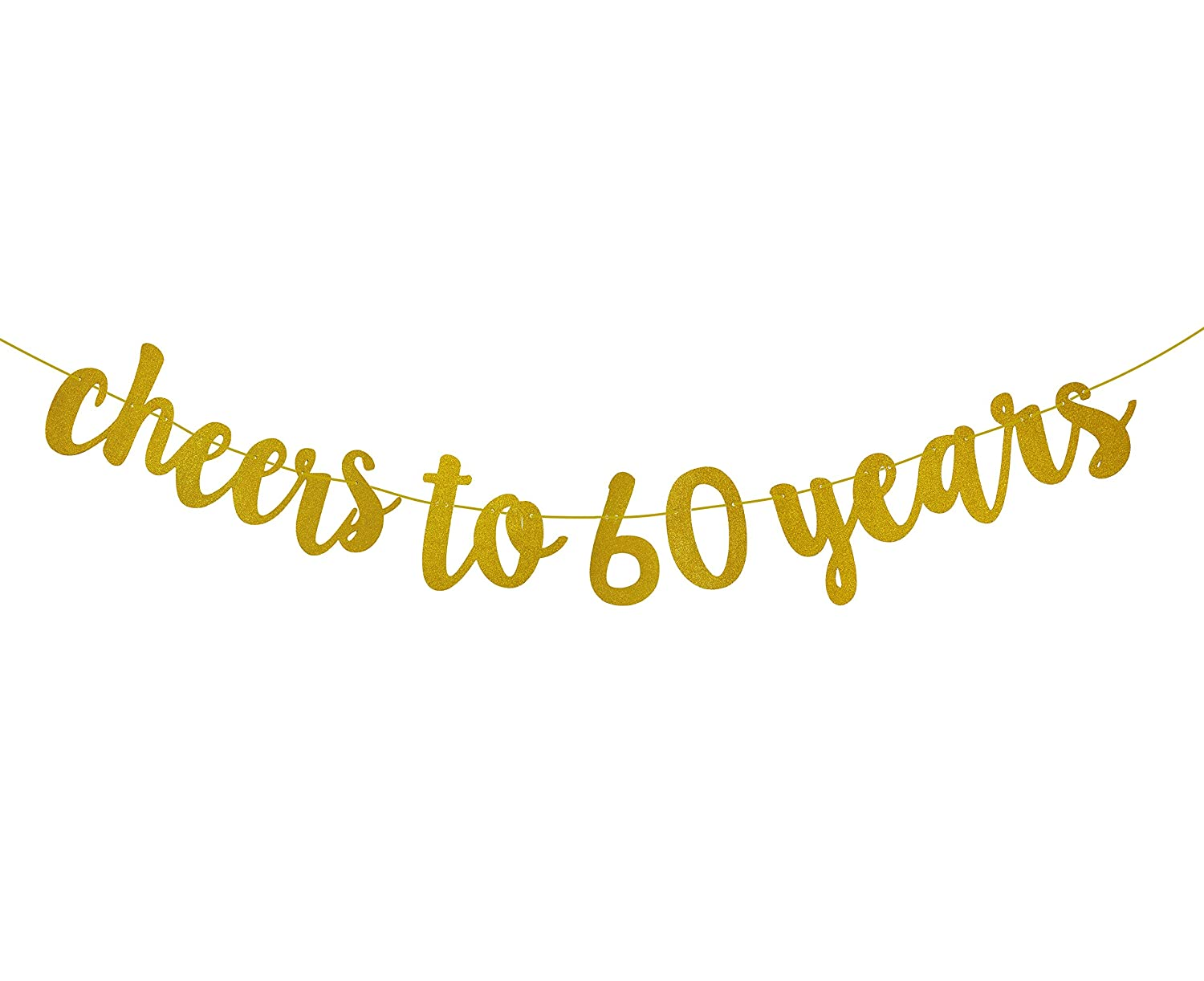 Amazon com fecedy gold glitter cheers to 60 years banner for 60th birthday party toys games