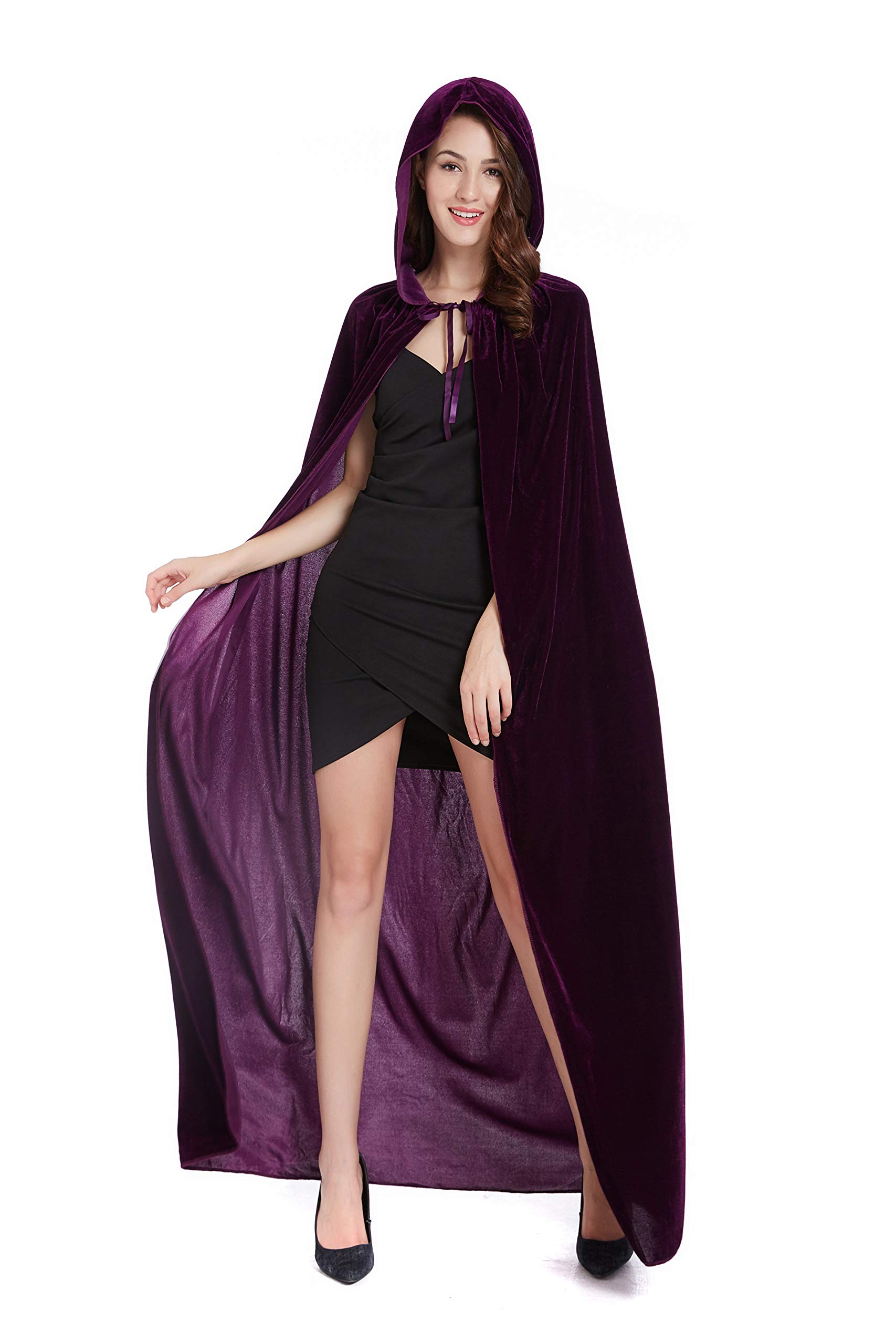 Diffly 59'' Velvet Hooded Cape Unisex Halloween Cloak for Devil Witch Wizard Halloween Christmas Cosplay (Purple)