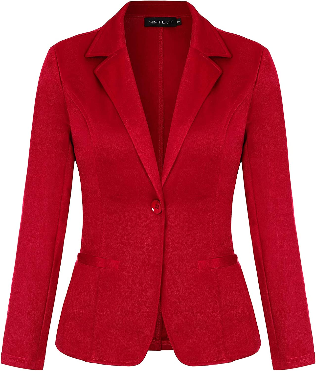 Women's Blazers Long Sleeve Notched Lapel One Button Work Office Blazer Jacket Suit Pockets