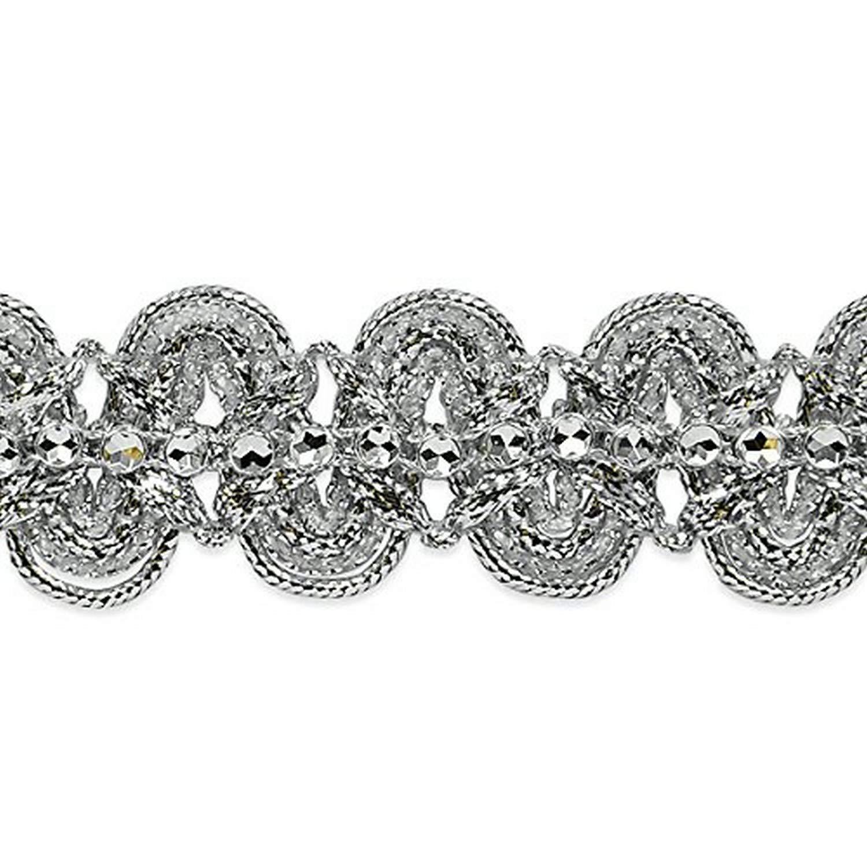 Lime//Silver 20-Yard Expo International Eva Faux Rhinestone Metallic Braid Trim Embellishment