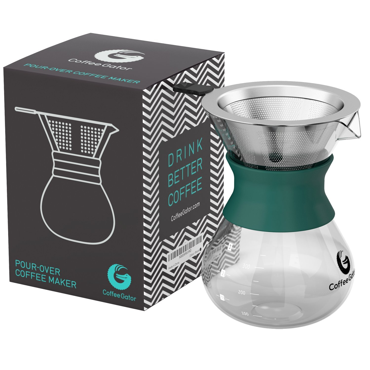 Coffee Gator Pour Over Brewer – Unlock Flavor with Paperless Filter and Carafe – 10.5 floz - Green by Coffee Gator