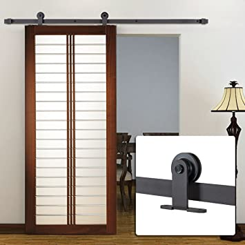 belleze 6ft modern style european barn roller sliding closet door hardware frosted black