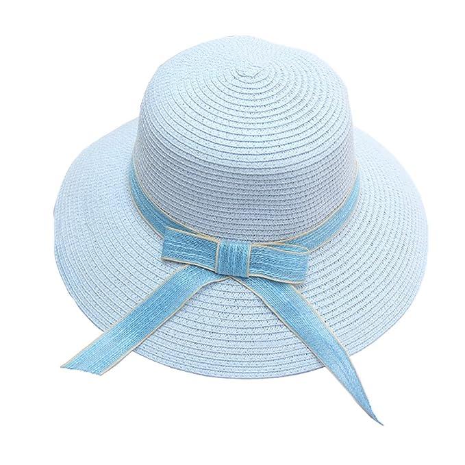 6b278ddf2 A.Fashion Women's Simple Bow Foldable Wide Brim Party Beach Sun Fall ...
