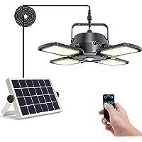 Solar Pendant Lights Outdoor Indoor,Aqonsie 1000LM 128LED Solar Powered Shed Light,4-Leaf 120° Adjustable Solar Security…