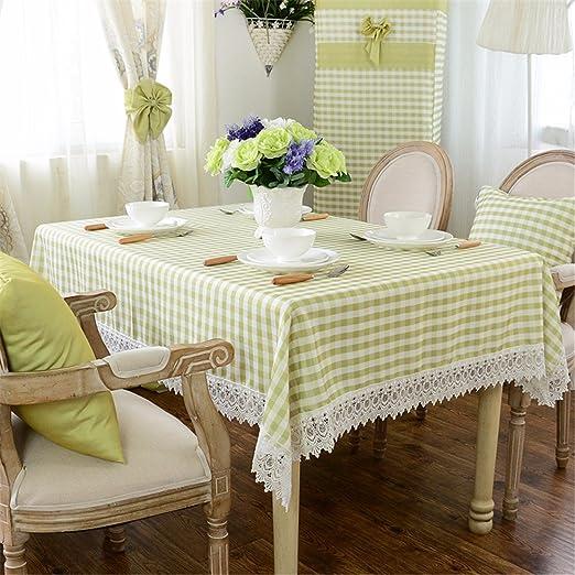 110 * 160 cm verde y blanco de rombos encaje mantel lino y algodón ...