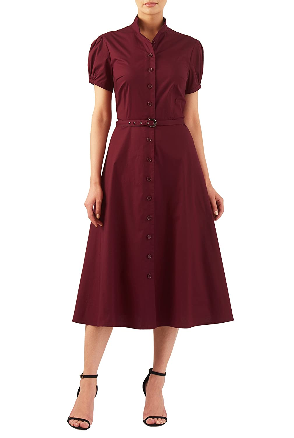 Vintage Inspired Clothing Stores Puff sleeve stretch poplin midi shirtdress $61.95 AT vintagedancer.com