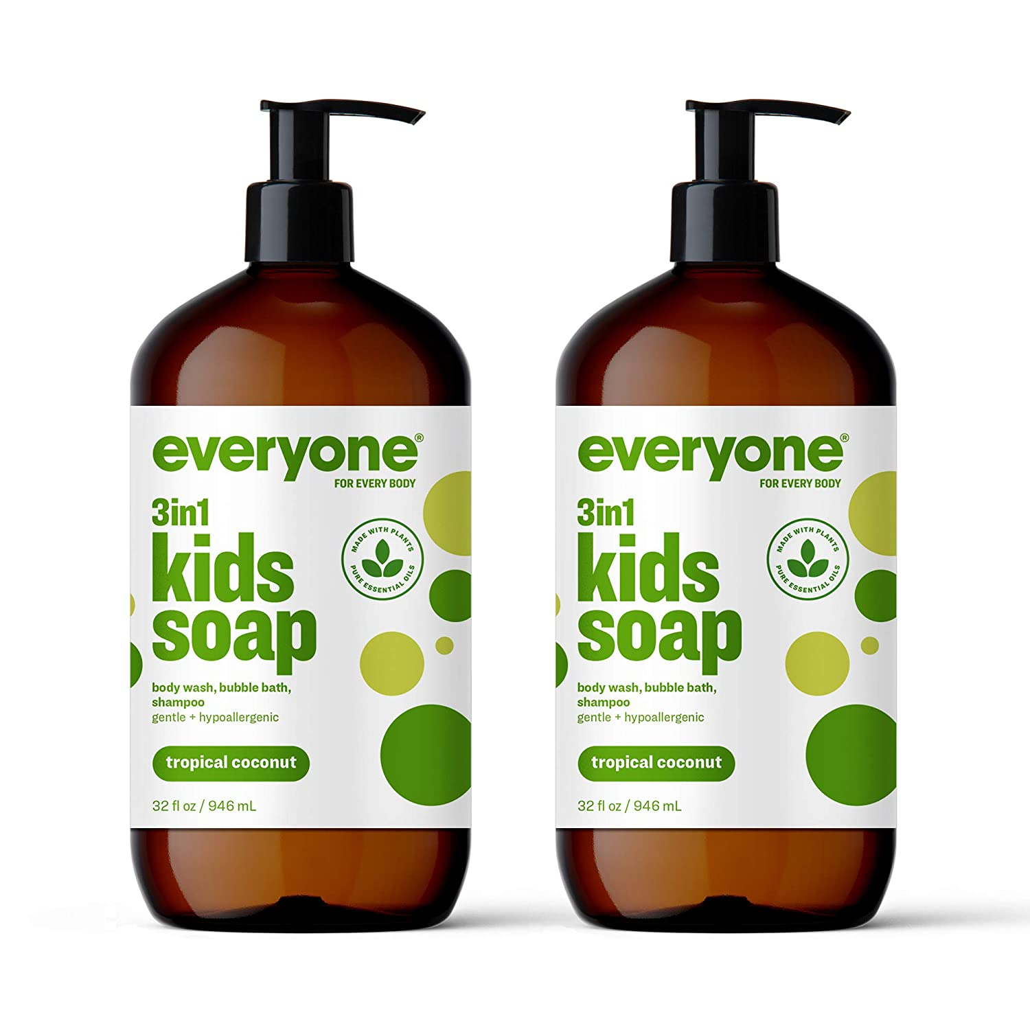 Everyone 3-in-1 Kids Soap: Body Wash, Bubble Bath, and Shampoo, Tropical Coconut Twist, 32 Ounce, 2 Count- Packaging May Vary : Beauty