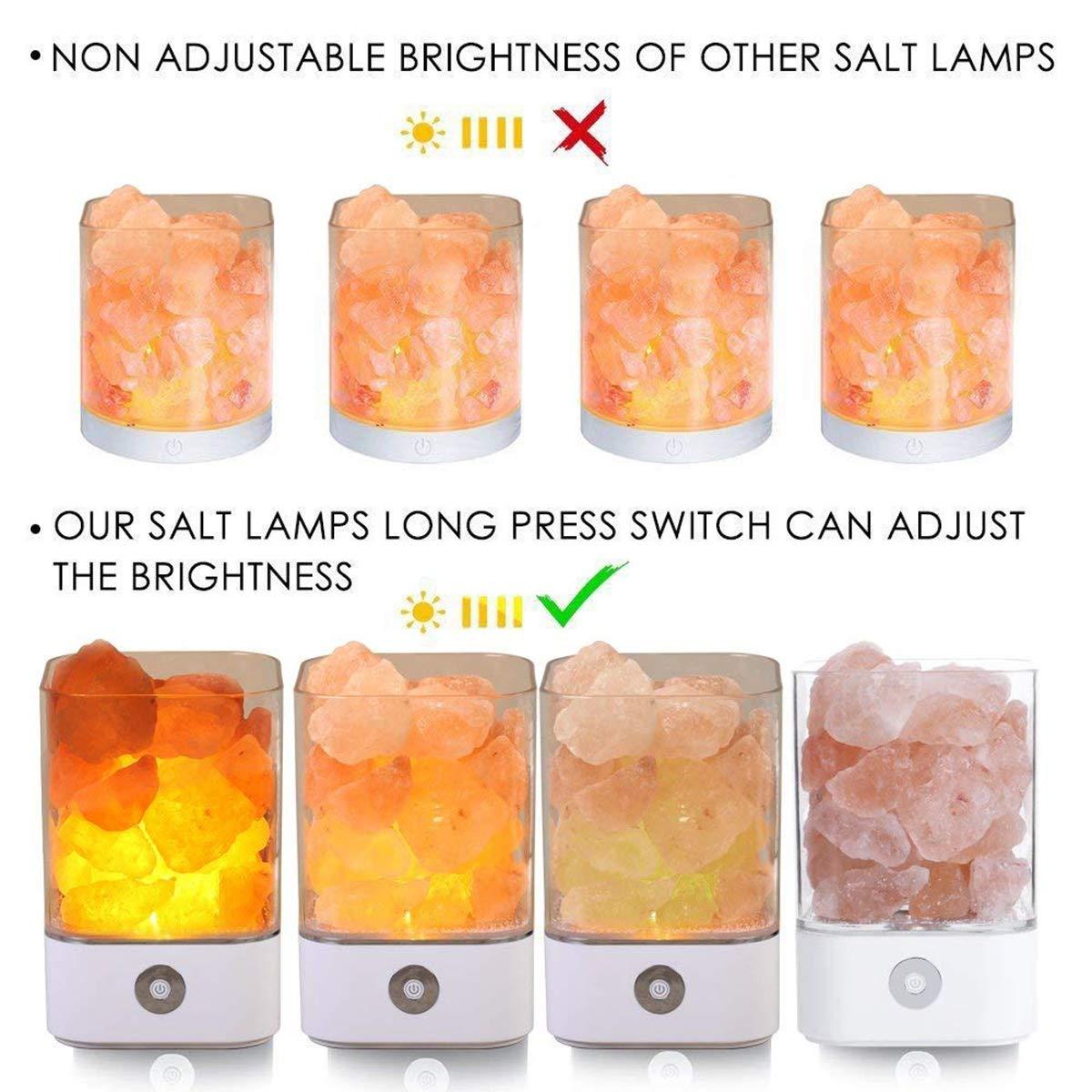 Salz Lampe Himalaya Salzkristall Lampe Nachttischlampe Dekorative Lichter Therapeutisch Salzlampe Dimmbar mit LED Salz Lampe mit Touch Helligkeit Control Funktion by Upstartech