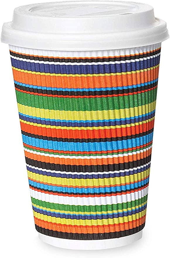 Premium Quality Disposable Hot Paper Coffee Cups 12 oz With Lids Pack 60 pcs