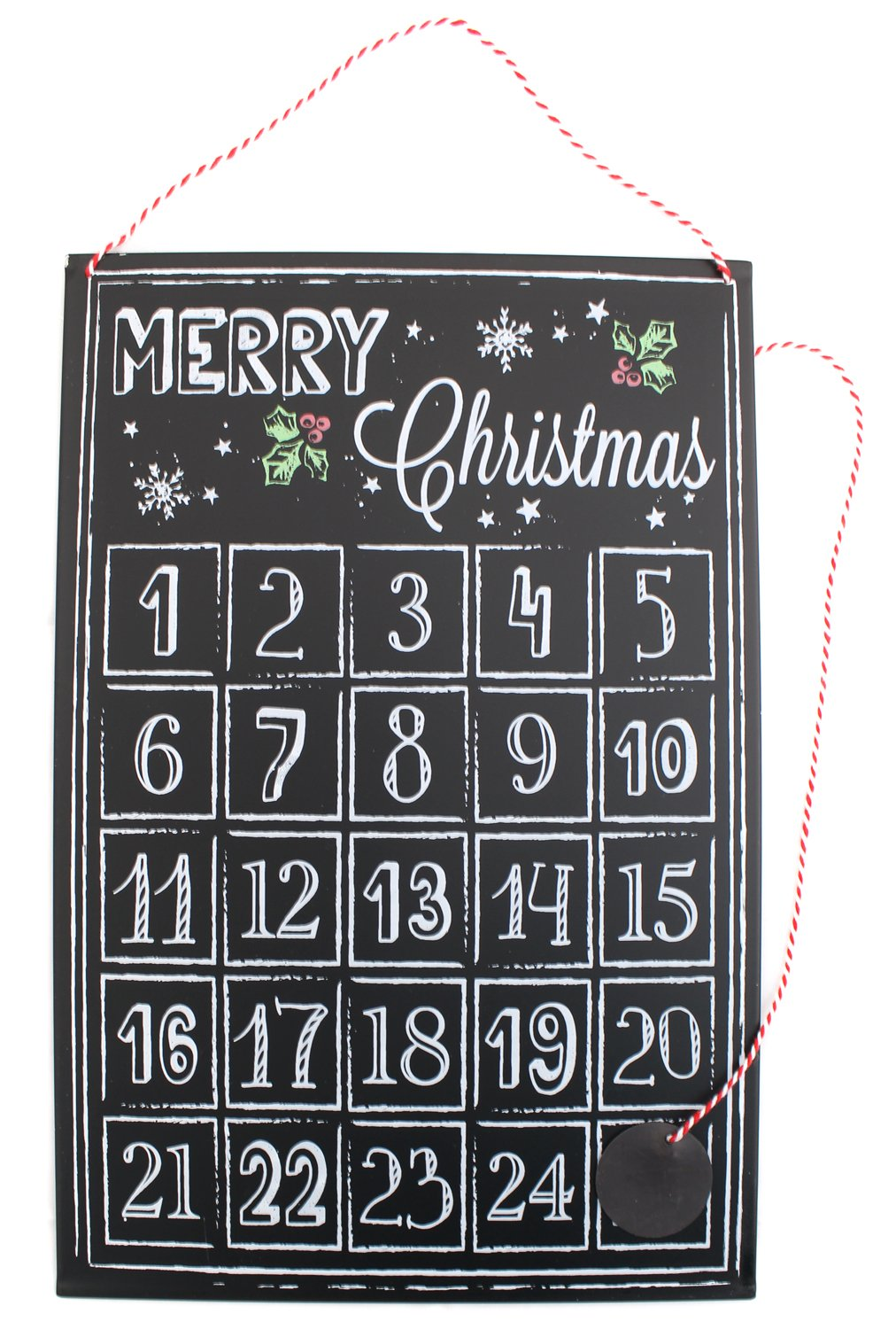 Christmas Chalk Board Style Tin Advent Plaque Hanging Sign - Christmas Countdown Luck and Luck