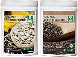 Naturevibe Botanicals black chia seed (2lb) and Sunflower seeds (2lb) combo | Gluten free and non gmo | superfood | healthy snack