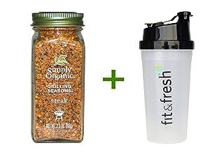 Simply Organic Grilling Seasons Steak Organic 2.3 oz (65 g) (5 PACK), Shaker Bottle assorted colors 20 oz