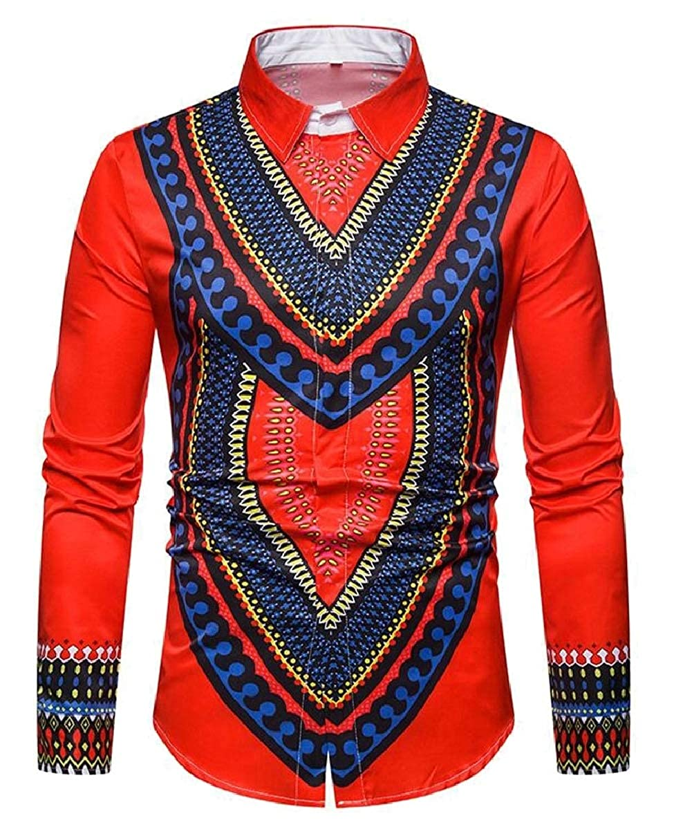 FLCH+YIGE Mens Long Sleeve Ethnic Print Dashiki Button Down Shirt