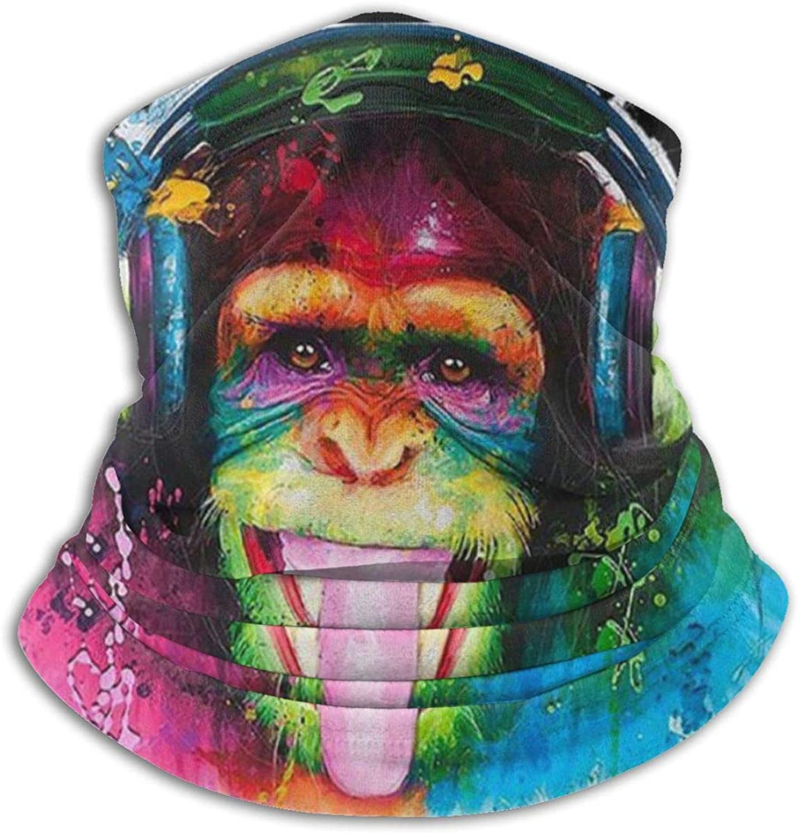 NA DJ Monkey Printed Mask Warm Neck Scarf Outdoor UV Protection Party Cover Men and Women Multi-Function Headdress