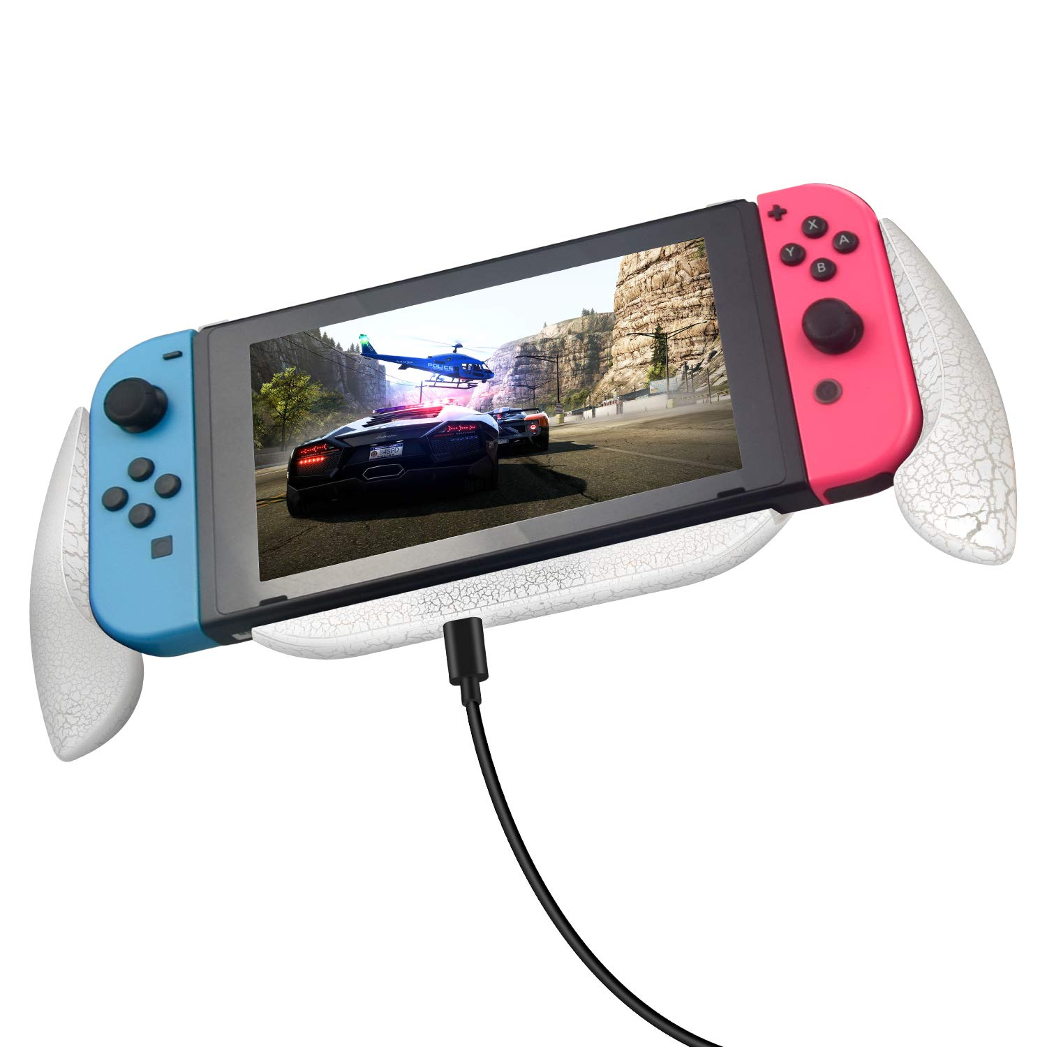 Lammcou Charging Grip for Nintendo Switch Grip Handle Holder Stand Comfortable & Ergonomic Switch Grip Case with Game Storage Case, Fast Charge Compatible 5V 2A AC Adapter with Type-C Cable - White by Lammcou