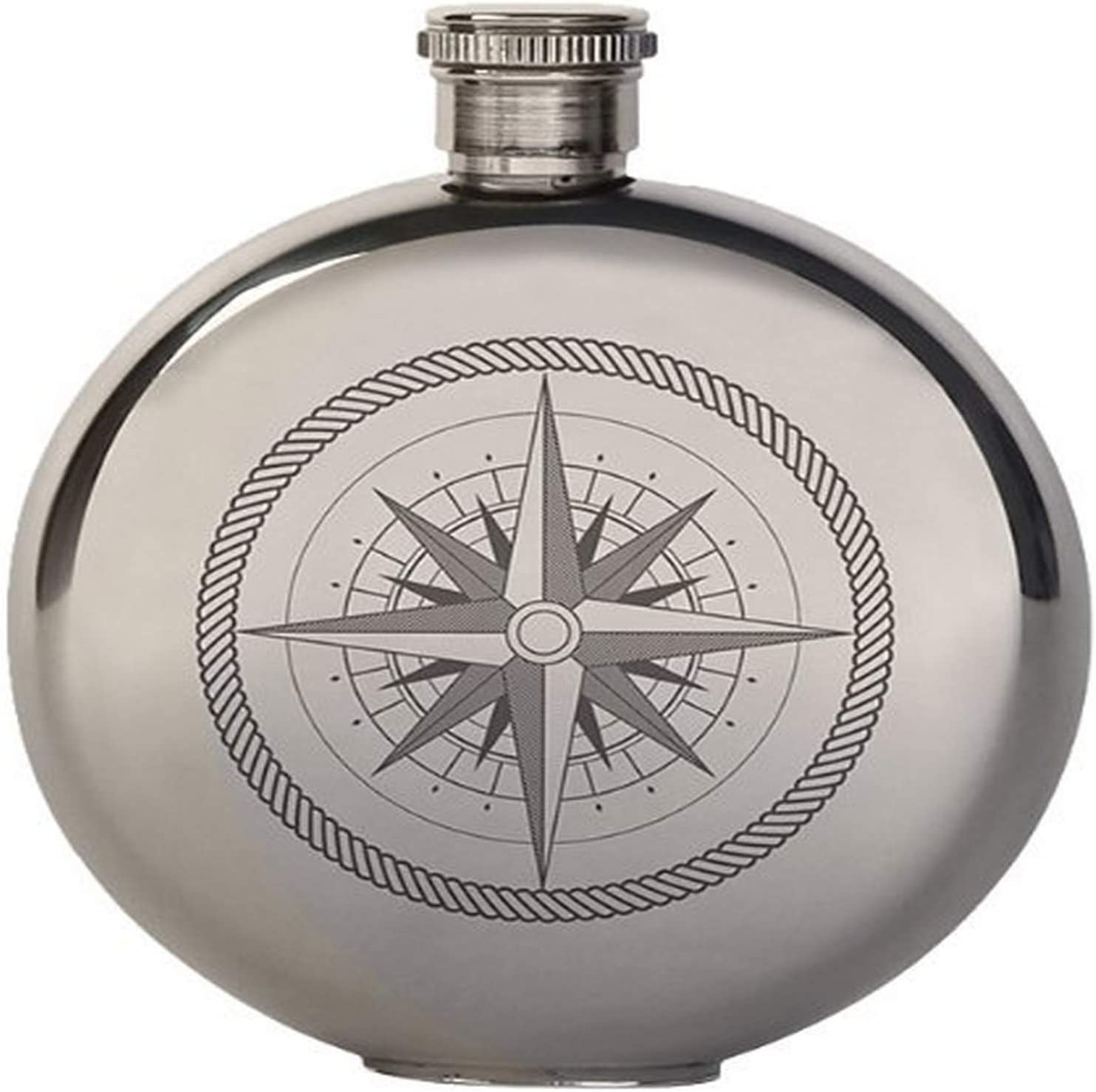 Kikkerland 5 Ounce Compass Canteen Flask Large Kitchen Dining