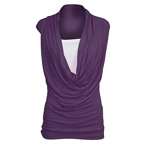 Pure Fashion Mujer Tank Top sin mangas Multicolor Purple – Summer Sunny Lined Fold Over Neck M/L 40-42