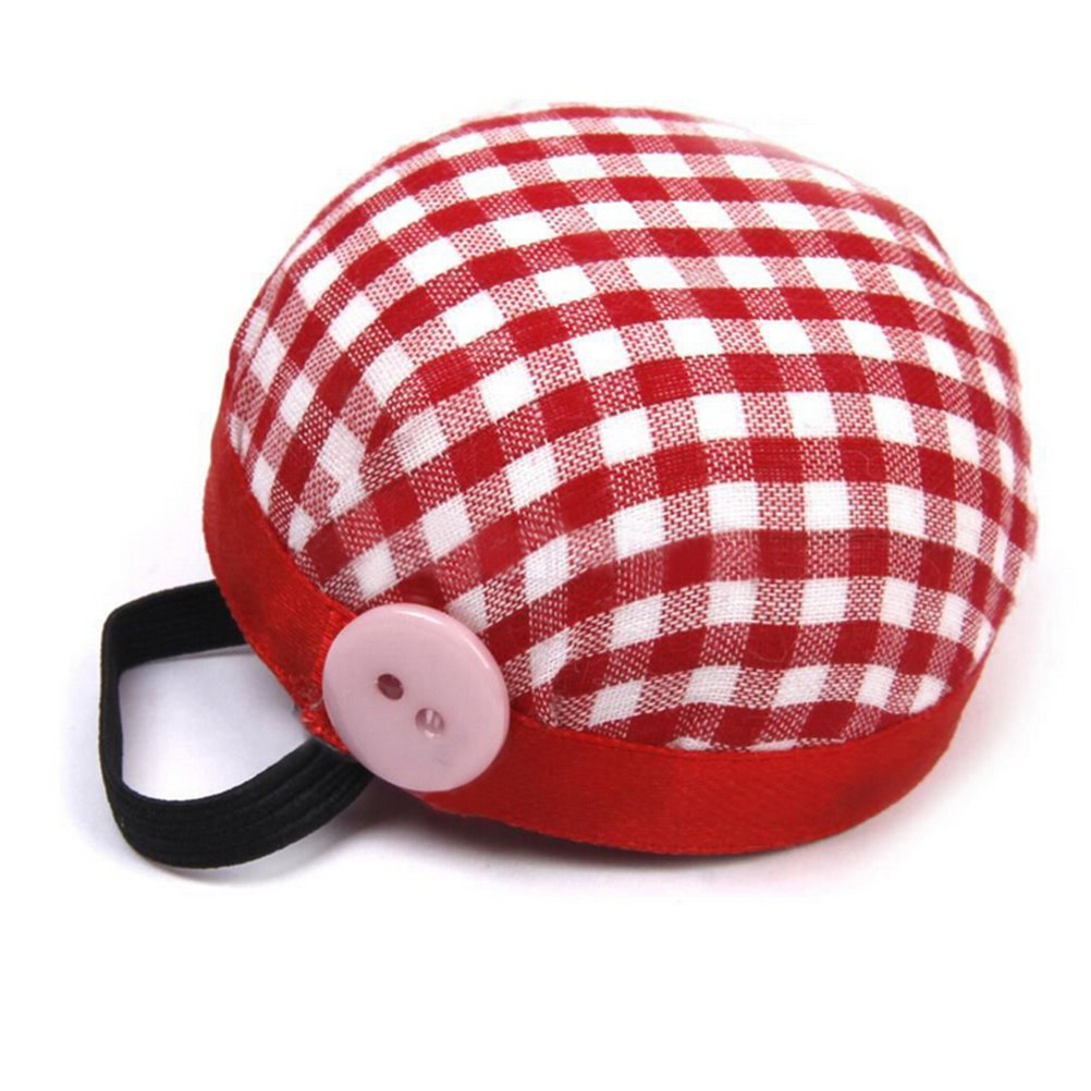 1 Pcs Small Fabric Coated Fully Padded Wrist Pin Cushion for Sewing with Button for Needle Storage by HONGTIAN Clarity Deal