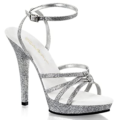 a0d11d21fcc Summitfashions Womens 5 Inch Silver Glitter Heels with Wrap Around Ankle  Strap Dress Shoes Size