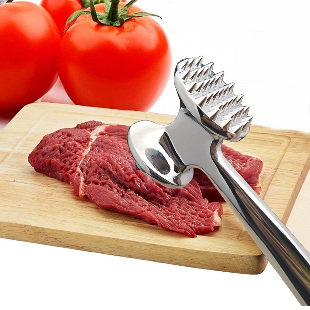 FUNRUI Heavy Duty Meat Hammer Tenderizer Metal Stainless Steel Steak Meat Pounder Mallet Double-Sided Restaurant Home Kitchen Tool, 25.8 cm HomeRex MFUN-MT-MEAT2