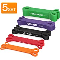 FOLKSMATE Pull up Assist Bands - Exercise Bands Resistance - Set of 5 - Mobility and Powerlifting Bands - Heavy Duty Stretch Bands - Extra Durable Workout Bands for Body Stretching Fitness Training