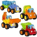 UiiQ ミニカー 工事カー おもちゃ 作業車 建設車両 4種類セット ダンプカー ショベルカー ブルドーザー トラクター ミキサー車 工事現場 砂場 子供向け はたらく車