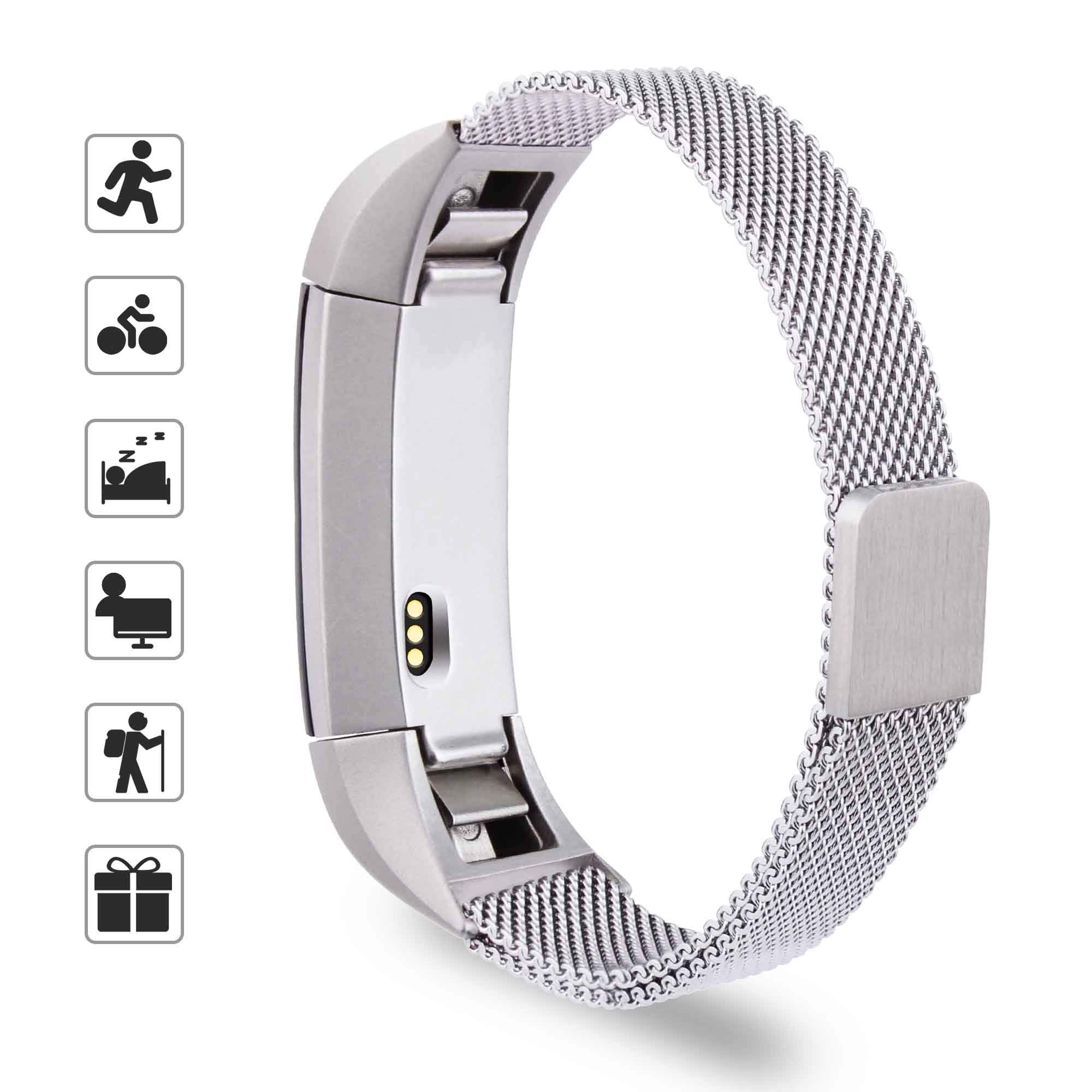 TOMALL Replacement Bands for Fitbit Alta HR and Fitbit Alta, Mesh Adjustable Replacement Accessories with Magnet Lock for Fitbit Alta/Alta HR (Silver)