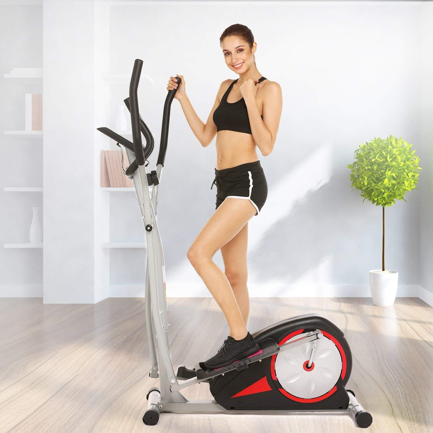 Kemanner Elliptical Machine Trainer for Home Gym Fitness Workout,Smooth Quiet Elliptical Trainer Magnetic Control with LCD Monitor and Pulse Rate Grips(Black)