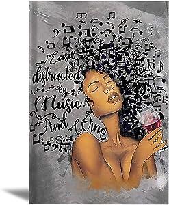 African America Wall Art Black Woman Wall Art Decor for Restaurant Music Black Girl Wall Art Black Queen Wall Art Black Girl Red Wine Glass Canvas Poster African Art Wall Decor Frameless 16x24inch