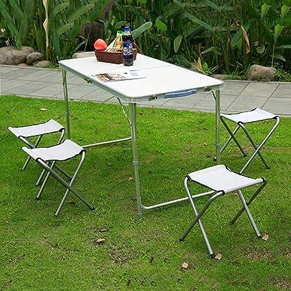 Qks Juego de Mesa y sillas Plegables para Camping Mesa de ...