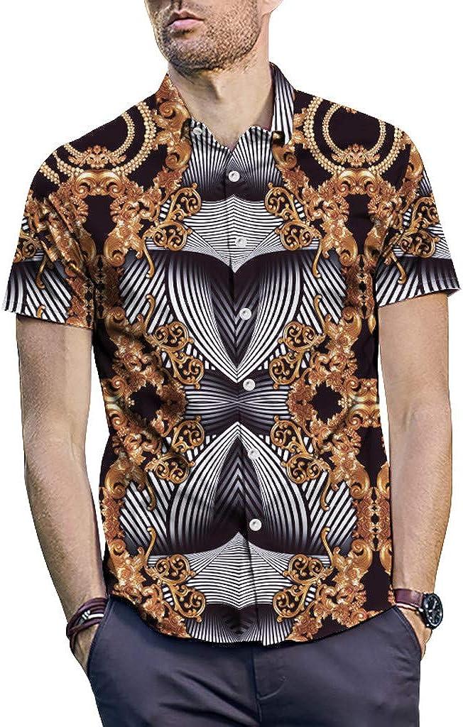 TiTCool Mens Retro Casual Button Down Short Sleeve Hawaiian Shirt Slim Fit Beach Shirts