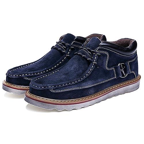 Hombres Zapatos Invierno Botas, Gracosy Nieve de Piel Botines Calentar Botas De Nieve Anti-deslizante Lazada Zapatos Botas de Trabajo con Cordones Forradas ...