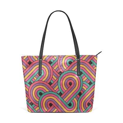 Womens Leather Top Handle Shoulder Handbag Colour Line Large Work Tote Bag