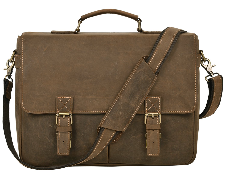 ALTOSY Mens Vintage Leather Tote Briefcase Laptop Messenger Satchel Bag 6468 (Light Green)