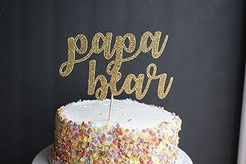 Avery Carey Gold Glitter Papa Bear Cake Topper Happy Fathers Day