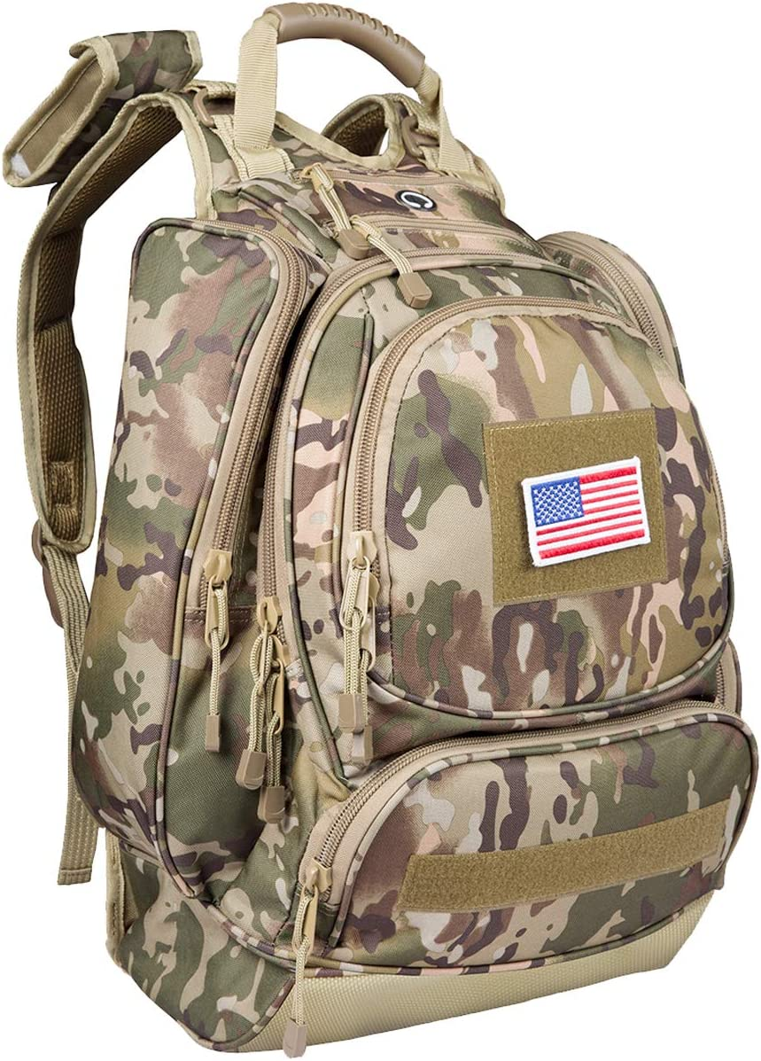 paladins Camo Military Heavy Duty Hydration Backpack with Laptop Compartment, Water Resistant 3 Day Hiking Rucksack,40 Liter Large (Bladder no Included)