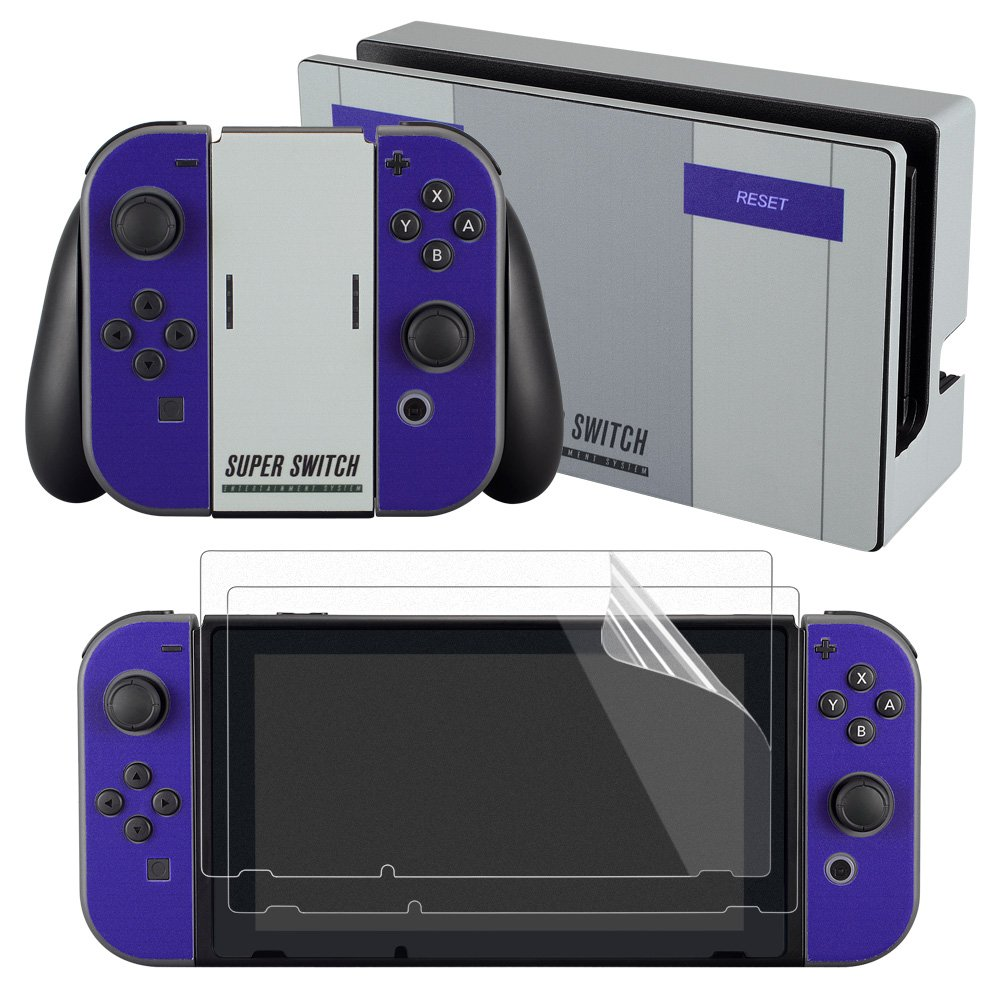 Amazon com extremerate super nes snes edition skin sticker decal for nintendo switch with screen protector console joy con dock grip nintendo wii