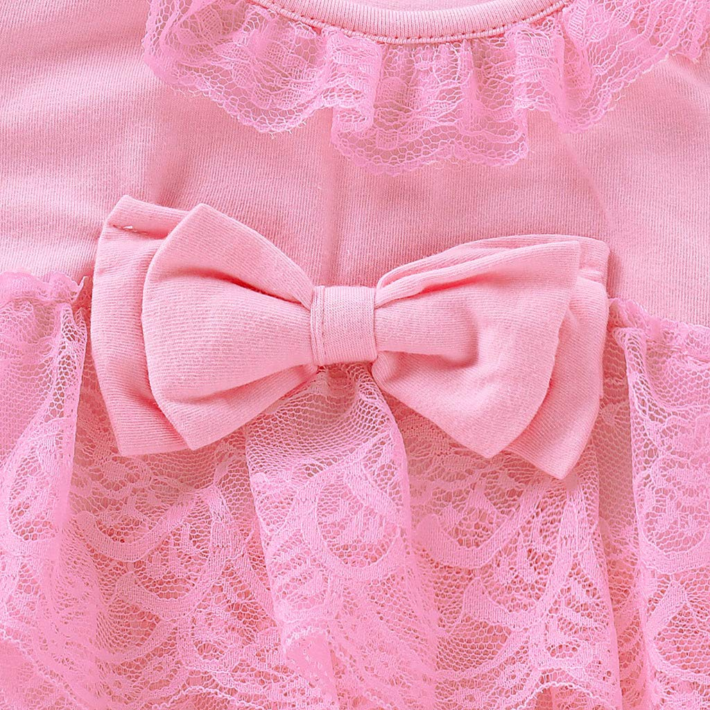 3-6 Months, Pink UNICLEE Summer Toddler Kids Baby Girls Pleated Ruffled Lace Short Sleeve Solid Color Bow Lace Romper Jumpsuit Clothes