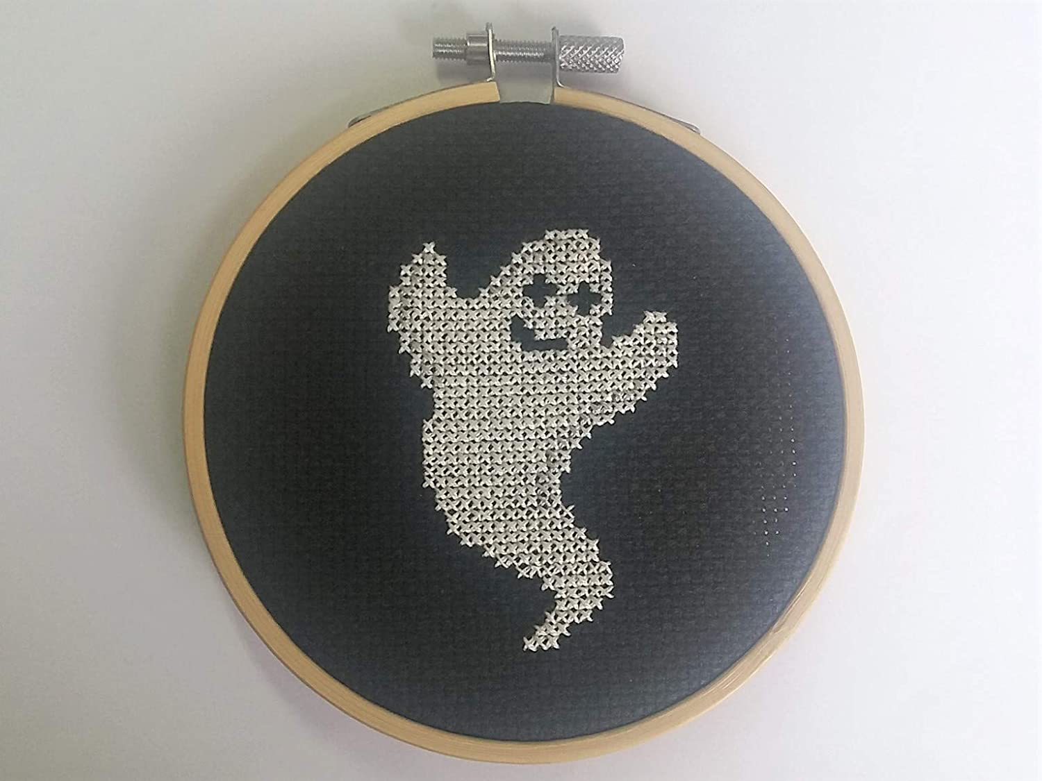 Ghost Cross Stitch Kit With Hoop - Beginners Counted Cross Stitch - Halloween Crafts