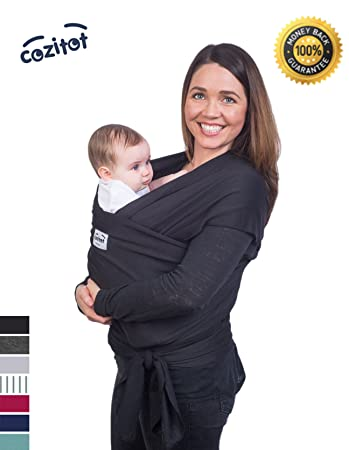 Amazon Com Black Baby Sling Carrier Wrap By Cozitot Soft