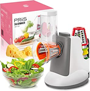 PRiiS Salad Shooter Electric Slicer Food Processor Salad Machine Carrot Cheese Nut Grater Rotary Shredder, One-Touch Control & 5 Free Stainless Steel Cones Blades, Fitness Molding Fat loss (Grey)