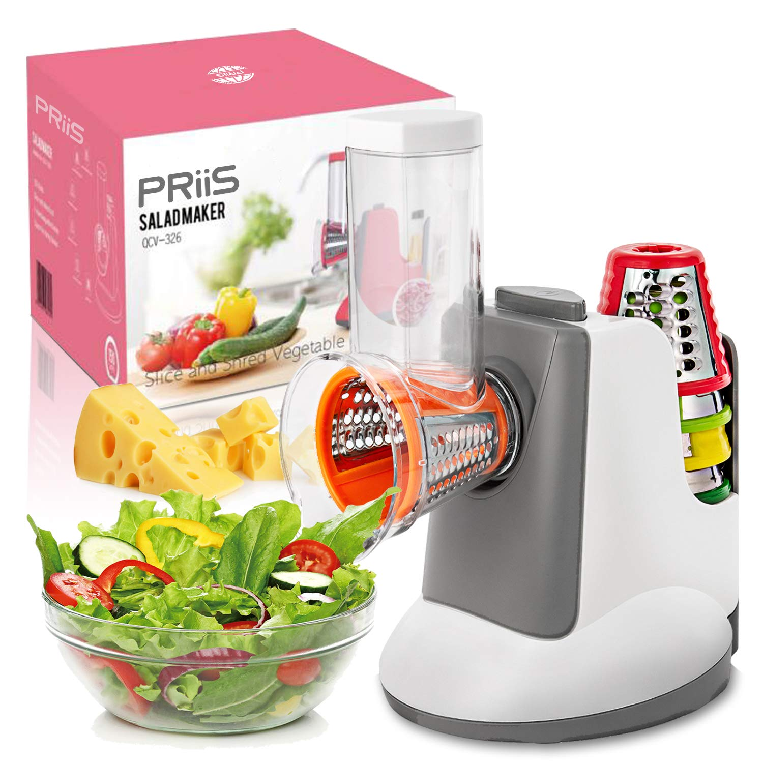 PRiiS Salad Shooter Electric Slicer Food Processor Salad Machine Carrot Cheese Nut Grater Rotary Shredder, One-Touch Control & 5 Free Stainless Steel Cones Blades, Fitness Molding Fat loss (Grey) by PRIIS