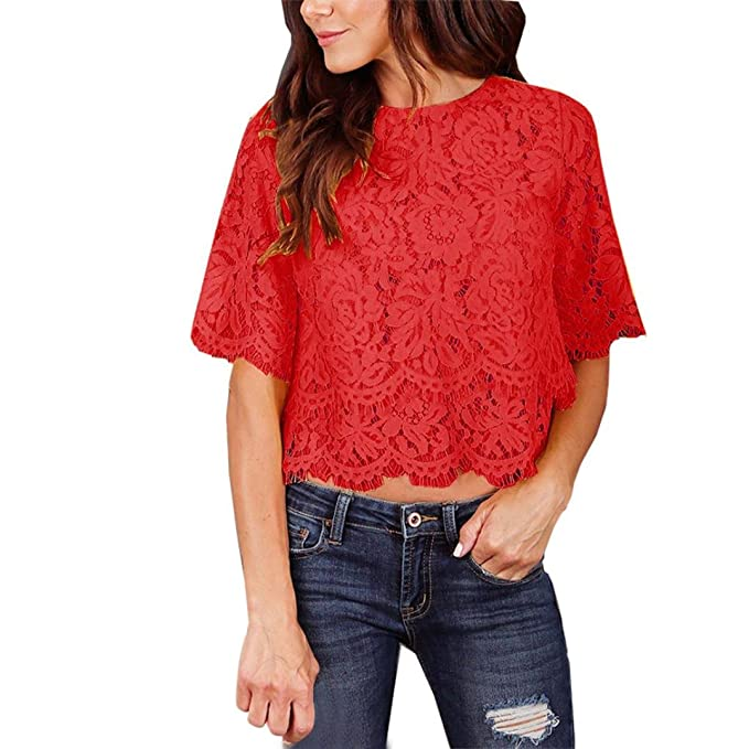 324202250fe2 Damenblusen Spitzenbluse Sommer Lace Bluse T-Shirt Florale Kurzarm  Spitzentops Damen OL Hemdbluse Elegante Festliche