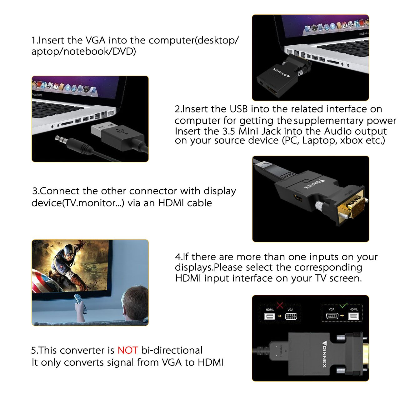 Vga To Hdmi Adapter With Audio Old Pc New Tv Monitor Jack Wiring Hdmifoinnex Male D Sub15 Pin Video Converter For Computer