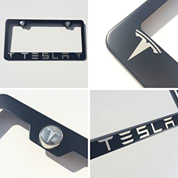 black powder coated tesla laser engraved stainless steel license plate frame with logo engraved steel screw