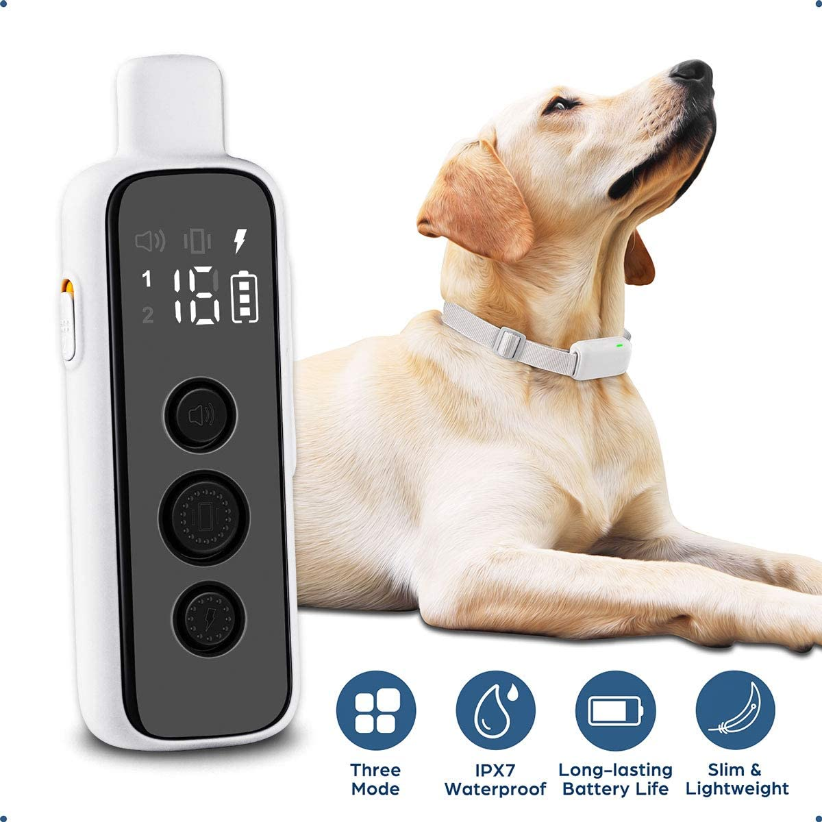 Monja Dog Training Collar, Rechargeable Shock Collar, IPX7 Waterproof Remote Trainer with 3 Training Modes, Tone, Vibration and Safety Shock for Small, Medium, and Large Breeds, Dog Training Kit