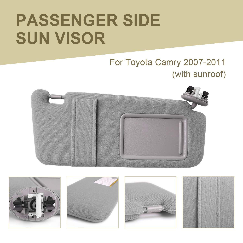 Orion Motor Tech Toyota Camry Sun Visor Driver Side Beige Sun Visor Fit for 2007 2008 2009 2010 2011 Toyota Camry Without Sunroof 74320-06780-E0