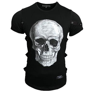 7b63824979a4d0 Rusty Neal Herren T-Shirt Rundhals Totenkopf Skull Applikationen RN-15150   Amazon.de  Bekleidung