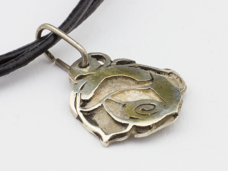 Anhänger Rose 925 Sterling-Silber Halsband Leder Schmuck: Amazon.de ...